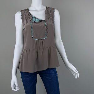 {BCBGMaxAzria} Silk 'Zena' Print Trim Blouse Top